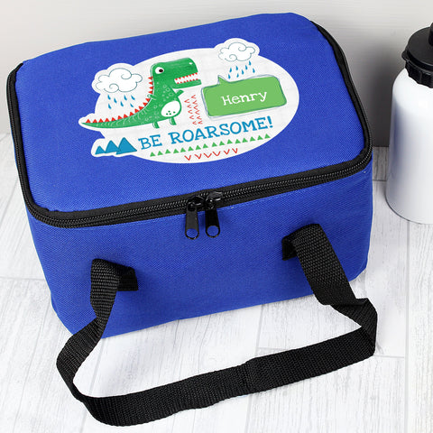 Dinosaur Blue Personalised insulated Lunch Bag with carry straps