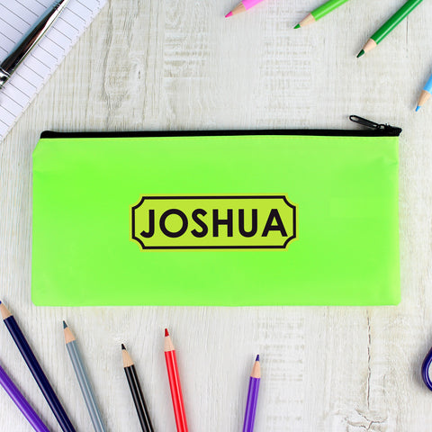Green personalised pencil case