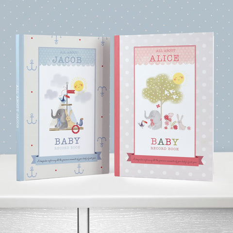 Personalised Baby Record Book in Blue and Pink