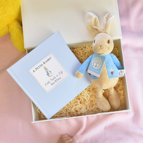 Personalised Peter Rabbit Book and Plush toy gift set in gift box