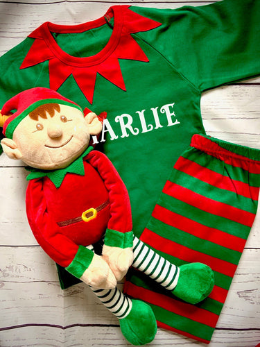 Children's personalised Elf Christmas pyjamas with Large Elf soft toy in a Personalised bag