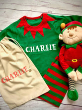 Load image into Gallery viewer, Children's personalised Elf Christmas pyjamas with Large Elf soft toy in a Personalised bag