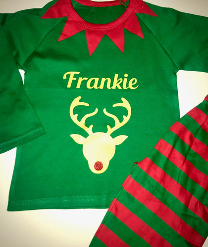 Children's Christmas personalised Elf pyjamas
