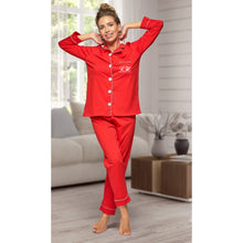 Load image into Gallery viewer, Matching family 100% cotton Red with white piping Long sleeve button up Pyjamas