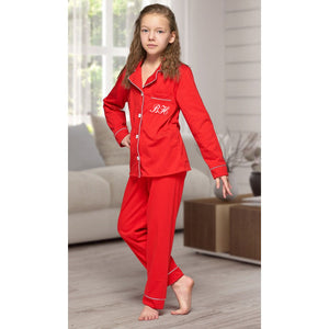 Matching family 100% cotton Red with white piping Long sleeve button up Pyjamas