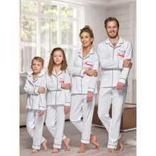 Load image into Gallery viewer, Matching family 100% cotton White with Black piping Long sleeve button up Pyjamas