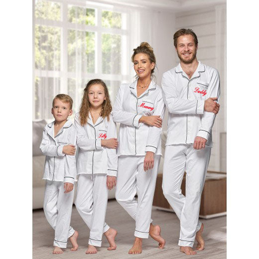 Matching family 100% cotton White with Black piping Long sleeve button up Pyjamas