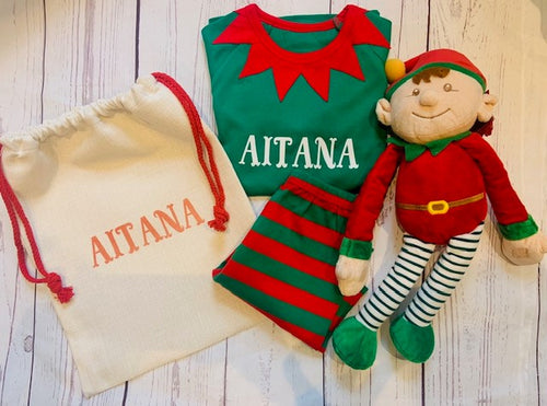 Children's personalised Elf Pyjama mix and match gift set