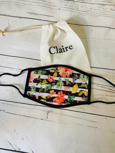 Black & white stripe floral face mask covering with personalised storage bag
