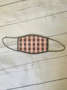 Pink and black gingham print adults face mask covering