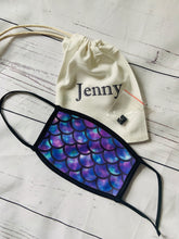 Load image into Gallery viewer, Mermaid scale purple and blues face mask covering with personalised storage bag