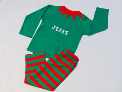 Children's Personalised Elf pyjamas