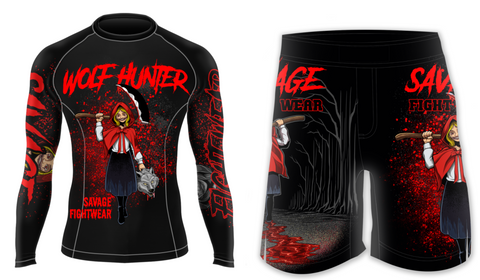 Wolf Hunter MMA/BJJ Rash Guard And Shorts Package
