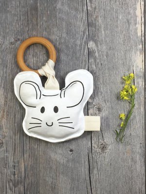 Mouse Face-Wood Teether Organic Cotton