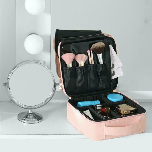 Makeup Organizer Bag for Cosmetics and Brushes, Sturdy Frame w/ Adjustable Impact-Absorbent Foam Divider Compartments, Travel Ready