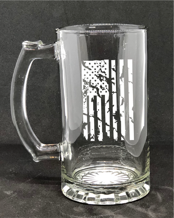 Distressed American Flag  / Custom Beer Mug