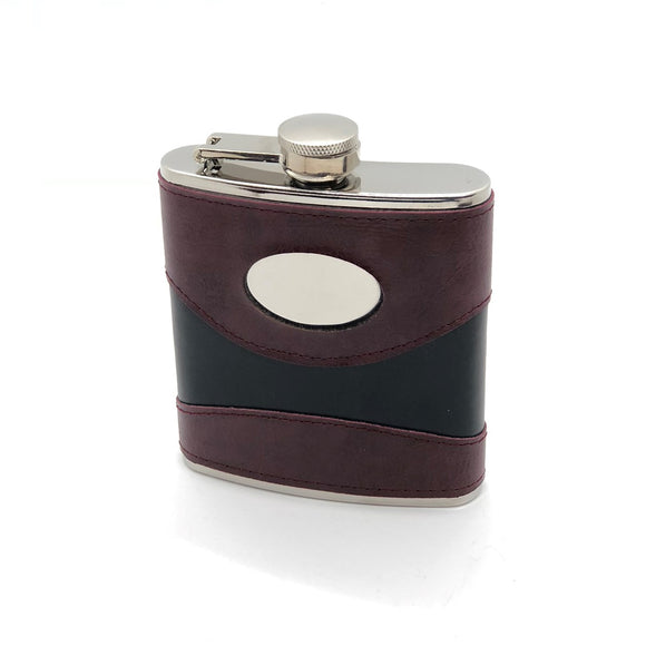 Hip Flask with Engraving Plate6oz. Two-Tone