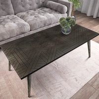 Modern Coffee Table- Modern Wood Coffee Table- Carved Wood Coffee Table With Wooden Legs