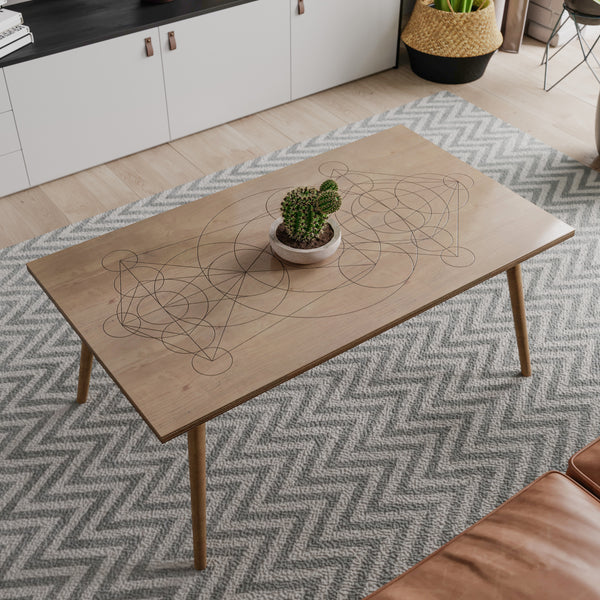 ASTRAL - Coffee Table- Wood Coffee Table- Modern Geometric Pattern Coffe Table