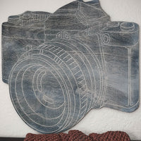 CAMERA- Decorative Wood Wall Art- Attractive Wooden Wall Art Panel- Carved Wood Art-Other Furniture- Modern Wood Wall Art
