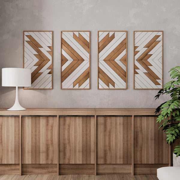 Native Pattern Wood Wall Art Set- Large Wooden Wall Art- Modern Rustic Wood Wall Art- Set Of 4 Wall Art Panels-Other Furniture- Modern Wood Wall Art