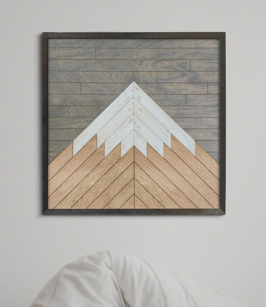 Lone Mountain- Wood Wall Art - Mountain Wall Art Reclaimed Wood-Other Furniture- Modern Wood Wall Art