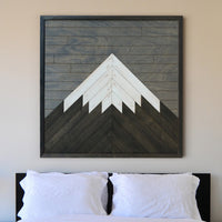 Mountain Wood Wall Art- Modern Wood Wall Art- Reclaimed Wood Art-Other Furniture- Modern Wood Wall Art