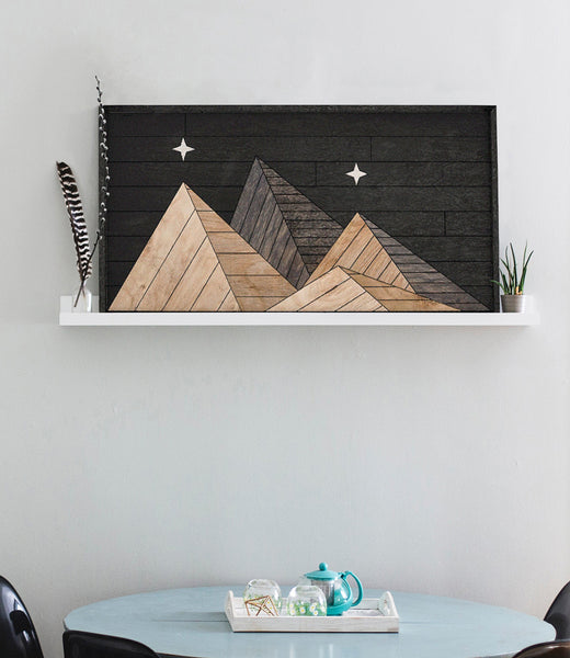 Night Mountain Range Wood Wall Art Rustic Wood Wall Hanging Large Rustic Mountain Wall Art
