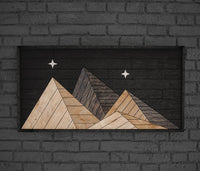 Night Mountain Range Wood Wall Art- Rustic Wood Wall Hanging Large- Rustic Mountain Wall Art-Other Furniture- Modern Wood Wall Art