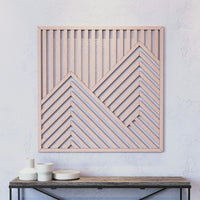 Mountain Wood Wall Art- Modern Wooden Wall Art- Large Geometric Wood Wall Hanging-Other Furniture- Modern Wood Wall Art