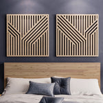 Abstract Wood Wall Art Set- Modern Geometric Wooden Wall Hangings- Large Wood Wall Art Set of 2-Other Furniture- Modern Wood Wall Art