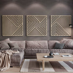 Large Modern Wood Wall Art Set of 3 - Wooden Wall Art Set of 3- Modern Wall Hanging Set