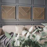 Modern Wood Wall Art Set- Large Geometric Wooden Wall Hangings Set- Abstract Wood Wall Art Set of 3-Other Furniture- Modern Wood Wall Art