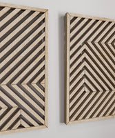 Wooden Wall Art Set of 4 - Modern Geometric Wood Wall Hanging Set- Large Wood Wall Art
