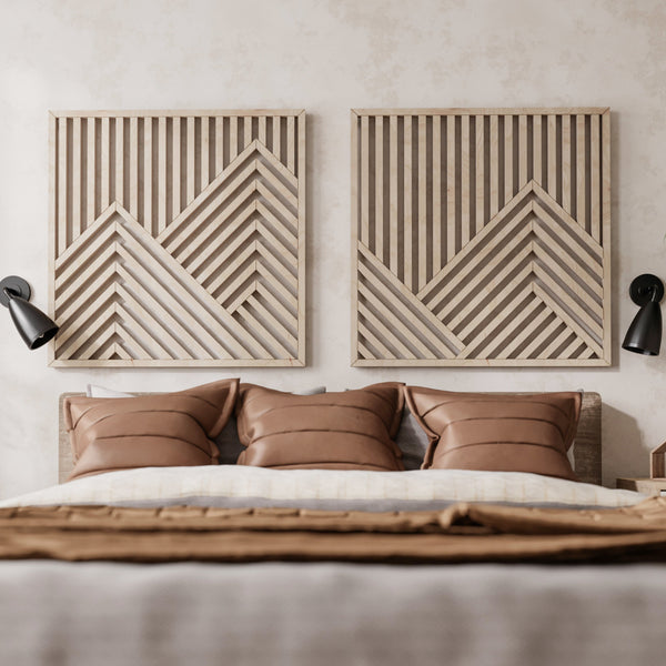 Mountains Wooden Wall Art Set- Large Modern Wood Wall Hangings- Set of 2 Wood Wall Arts- Modern Wood Wall Art Set-Other Furniture- Modern Wood Wall Art