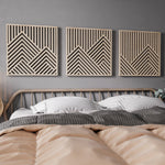 Large Mountains Wooden Wall Art Set- Headboard Wall Art- Bedroom Wall Art Set of 3