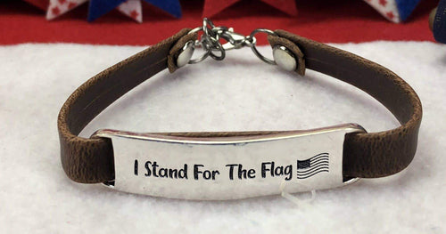 I Stand For The Flag Leather Bracelet