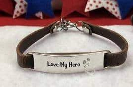 Love My Hero Leather Bracelet