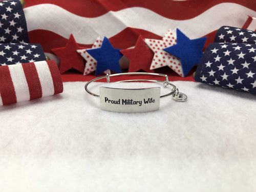 Proud Military Wife Bangle Bracelet