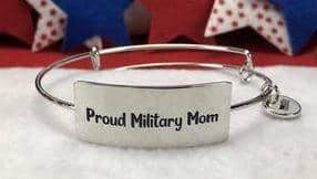 Proud Military Mom Bangle Bracelet