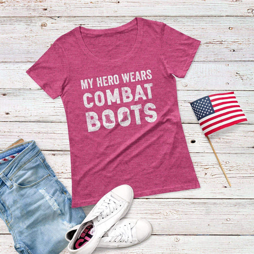 My Hero Wears Combat Boots Triblend Short Sleeve Tee