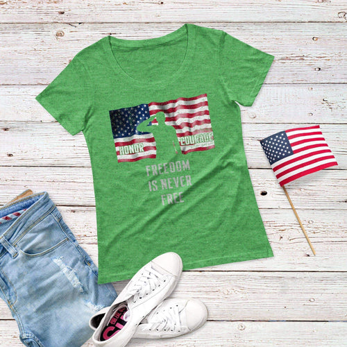 Honor Courage Freedom Triblend Short Sleeve Tee