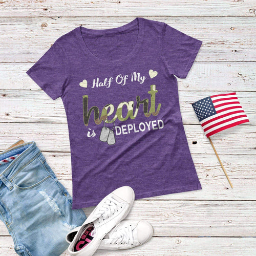 Half Of My Heart is Deployed Triblend Short Sleeve Tee