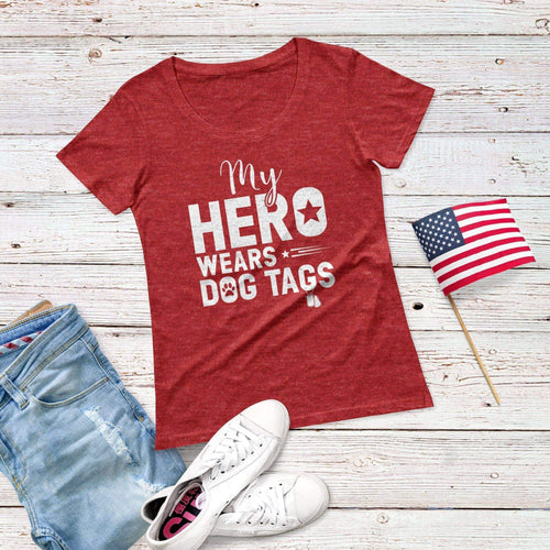 My Hero Wears Dog Tag Triblend Short Sleeve Tee