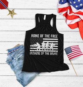 Home of the free because of the brave Racerback Tank