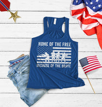 Load image into Gallery viewer, Home of the free because of the brave Racerback Tank