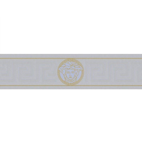 93522-5 Medusa Greek Key  Silver Gold Border