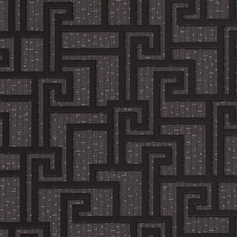 96236-3 Gray Grey Charcoal Black Greek Key Wallpaper