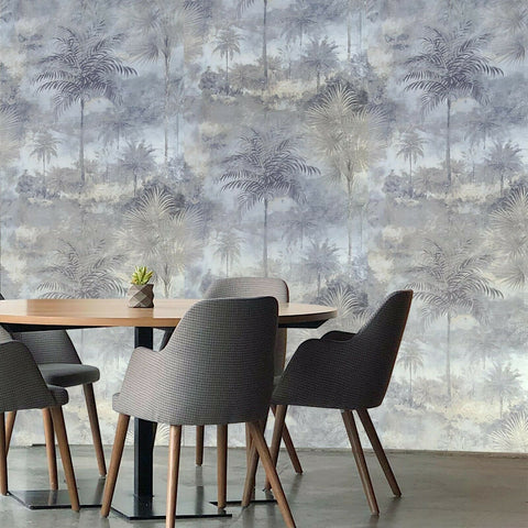 Z44901 Gray Blue gold floral tropical Wallpaper