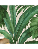96240-5 Palm Leaf White Green Textured Wallpaper